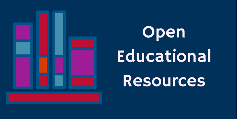 Image of books with the text Open Educational Resources