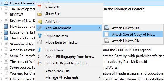 Screenshot showing how to attach a PDF file to a title in Zotero