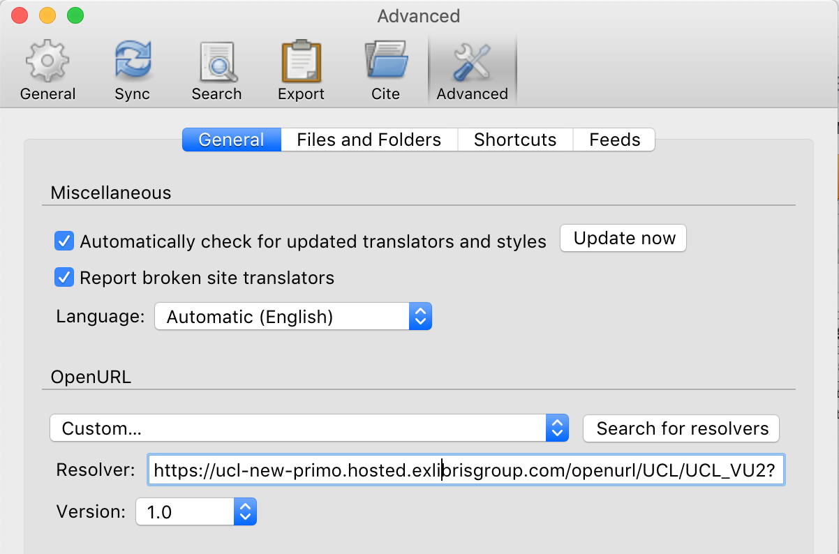 Screenshot of the Advanced tab in Zotero Preferences