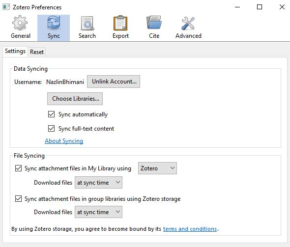 Screenshot of the Sync option on Zotero Preferences
