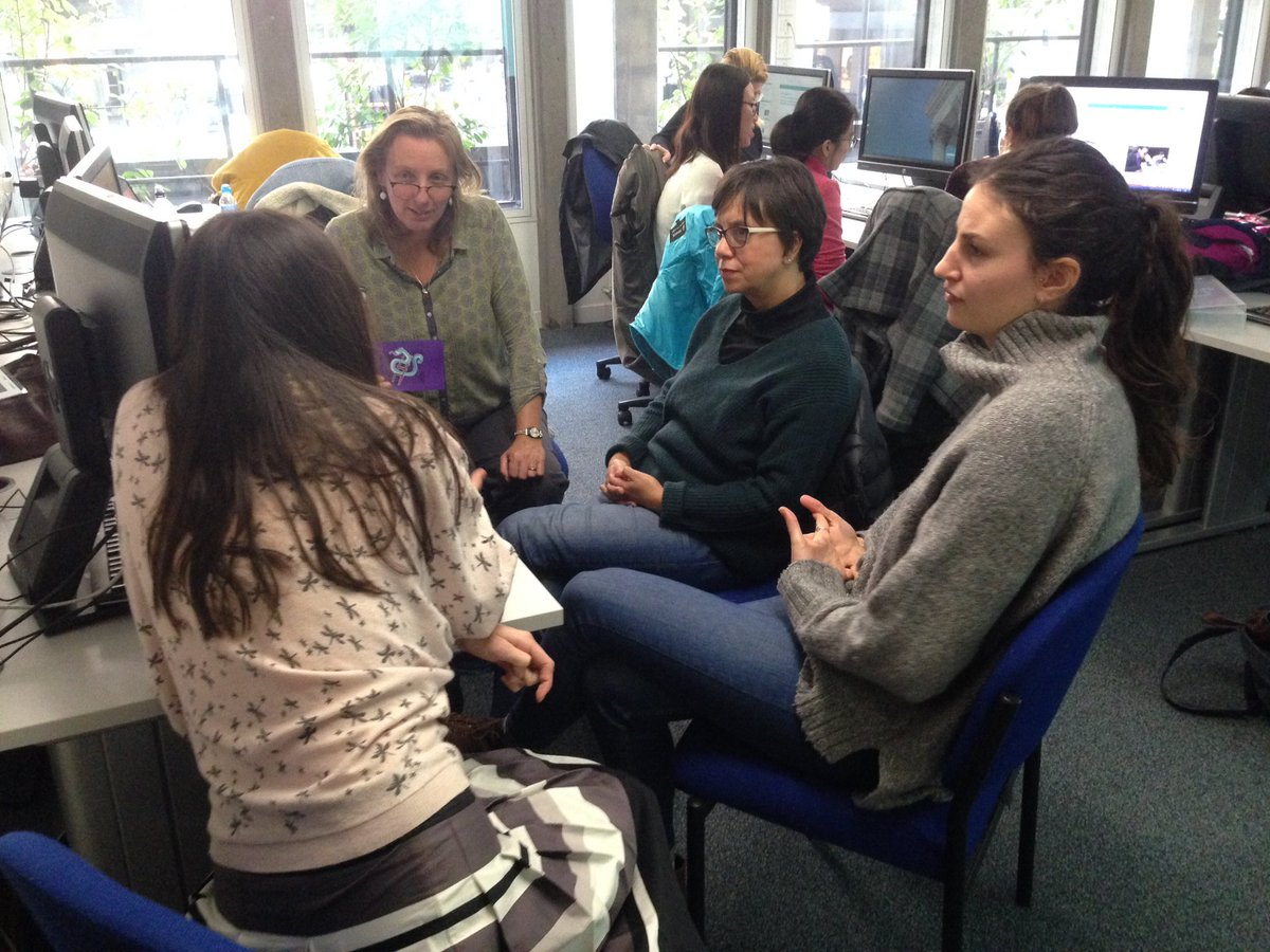 Image of students discussing the pros and cons of using social media on the Library's 'Information and Literature Searching Course'