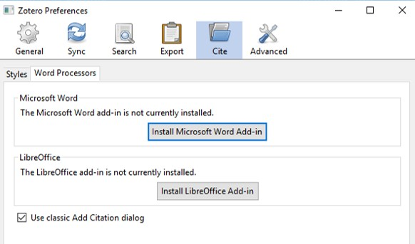 screenshot of preferences which allow you to install MSWord plugin