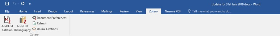 screenhot of menu-bar in MSWord showing Zotero