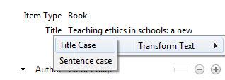 Screenshot showing the Transform Text menu option in Zotero.