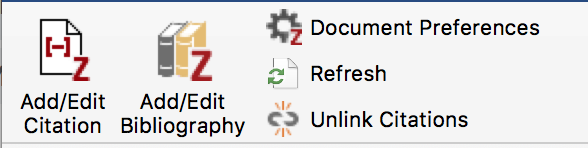 screenshot of the Zotero menu in MSWord showing the option to Unlink Citations