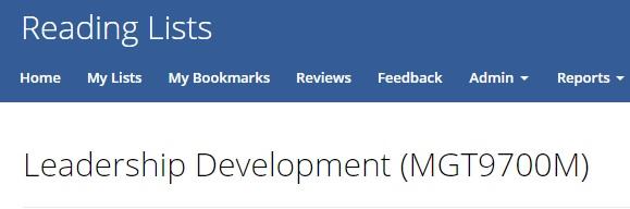 Screenshot of Management reading list