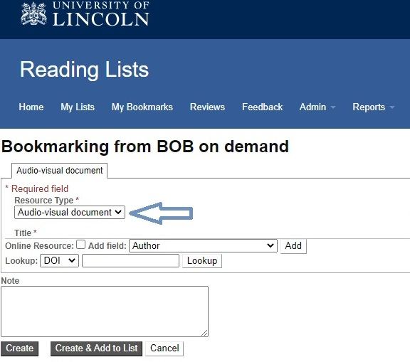 Screenshot of bookmarking screen in Talis Aspire Reading Lists saving a record from Box of Broadcasts