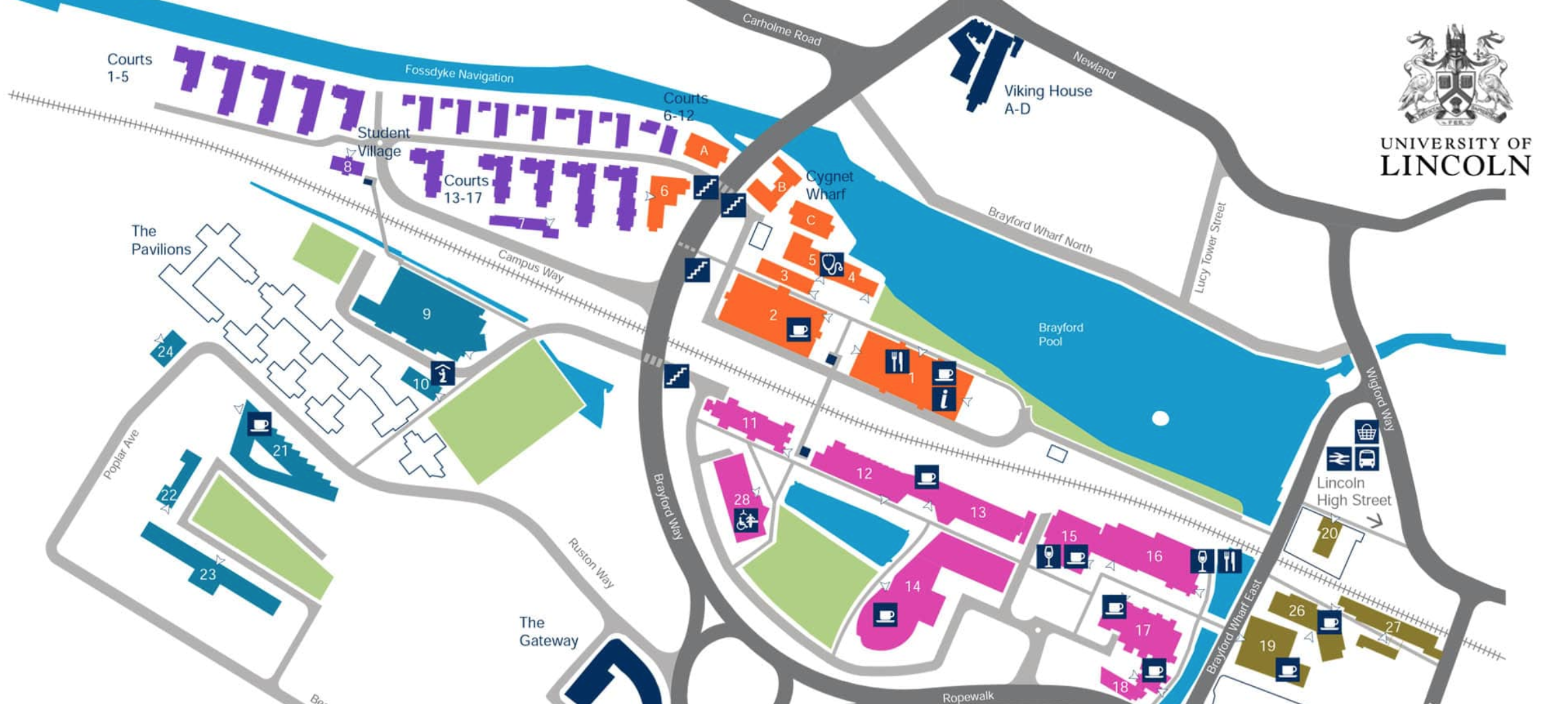 University of Lincoln campus map