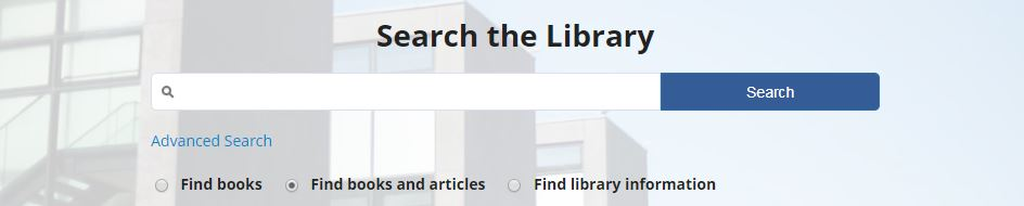 Search box for the library resources