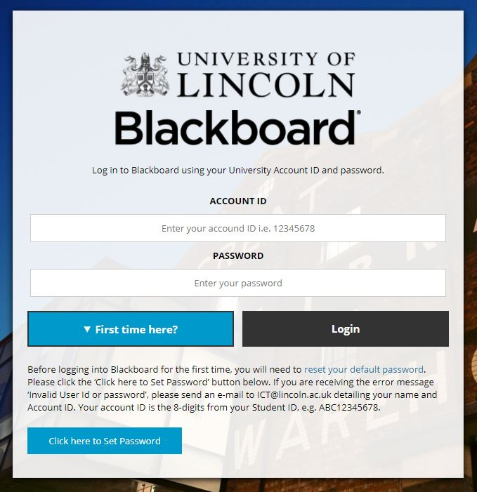 image of Blackboard login page