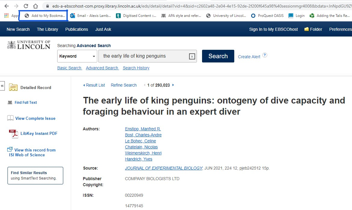 Screenshot showing journal article in the library website with the bookmarklet tool highlighted