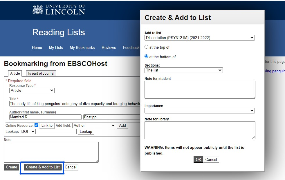 Image showing the create a bookmark screen in Talis Aspire Reading Lists