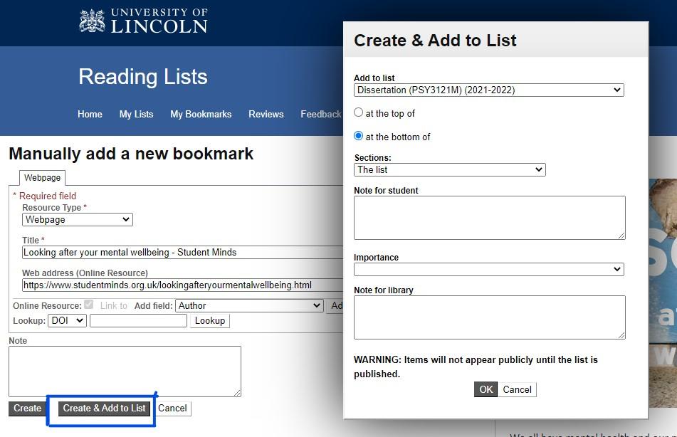 Screenshot of bookmarking screen in Talis Aspire Reading Lists saving a webpage