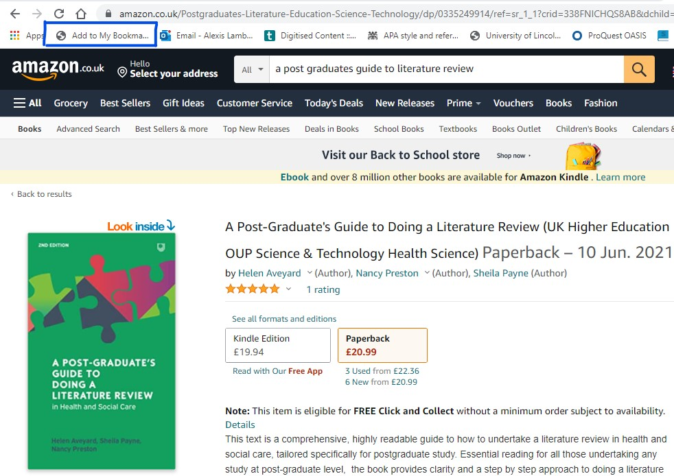 Image showing bookmarking a book from Amazon