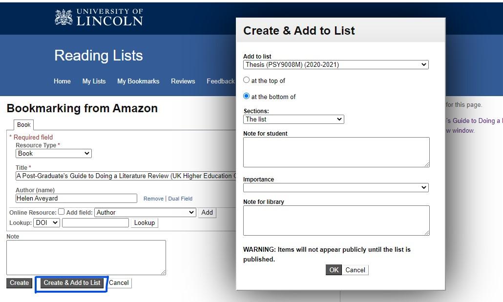 Screenshot of bookmarking screen in Talis Aspire Reading Lists