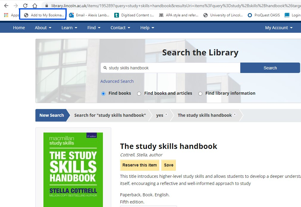 Screenshot of library website with bookmarklet highlighted in the browser bookmark bar