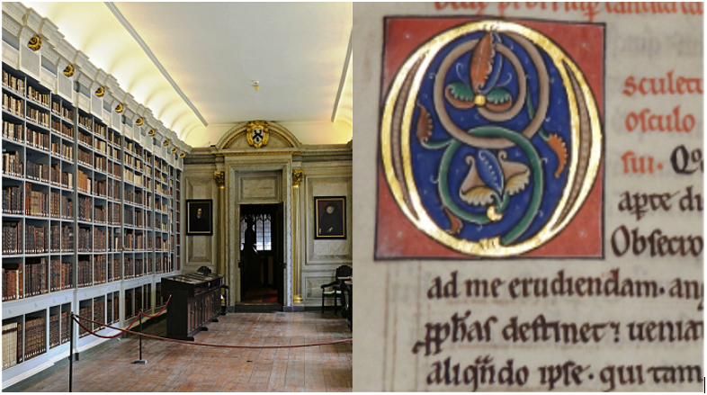The 17th Century Wren Library at Lincoln Cathedral and illuminated text in old book