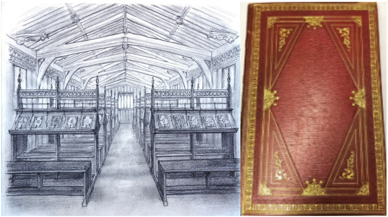 Sketch of Medieval Library at Lincoln Cathedral and red book cover