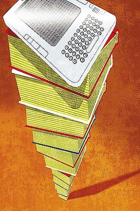 Illustration of towering pile of thick books with kindle on top with orange background