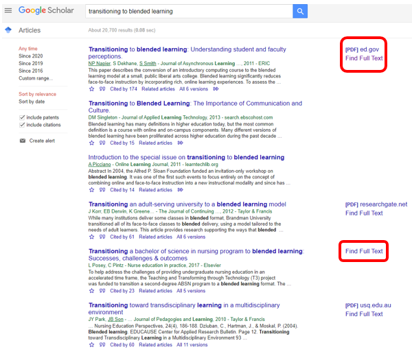 Screen shot of Google Scholar results list with PDF link and Find Full Text links outlined in red