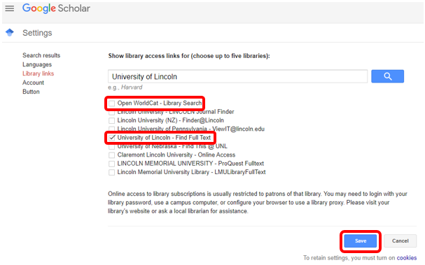 Screen shot of Google Scholar Settings menu with Open WorldCat, University of Lincoln and Save outlined in red.