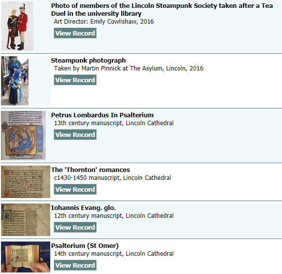 Photo Gallery on Special Collections Catalogue