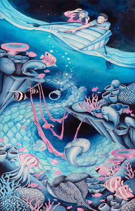 Illustration of man and woman in a rowing boat at night, the woman looking distressed while the man reaches down towards an engagement ring in the sea surrounded by sea life in various tones of blue and contrasting coral pink for some detail