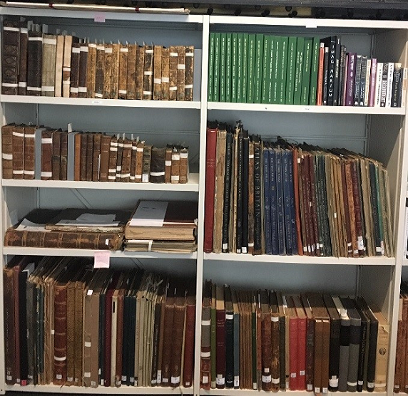 Shelves of books and journals in Zibby Garnet Library in University Library