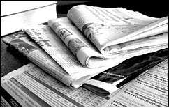 """""""Newspapers B&W (3)"""" taken by Jon S.  Downloaded 01/12/14.  Available from Flickr under a Creative Commons licence."""