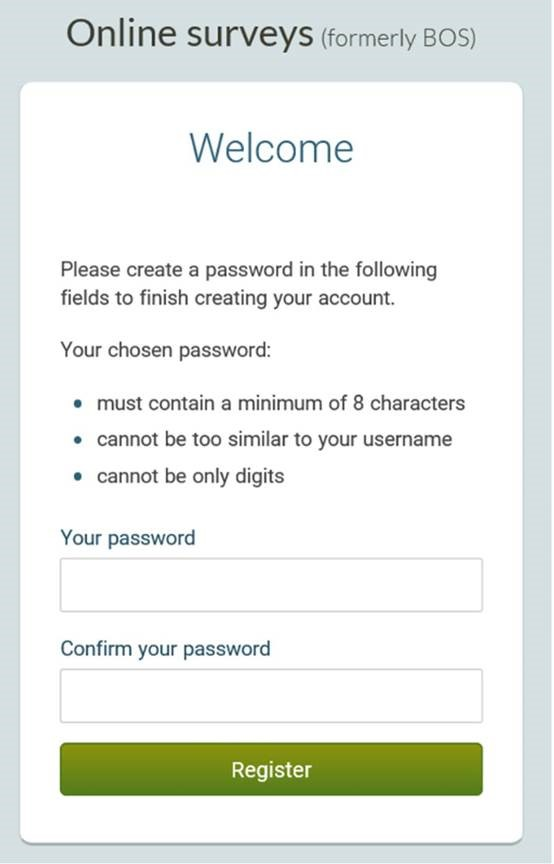 Image of Online Surveys registration page asking the user to create a password