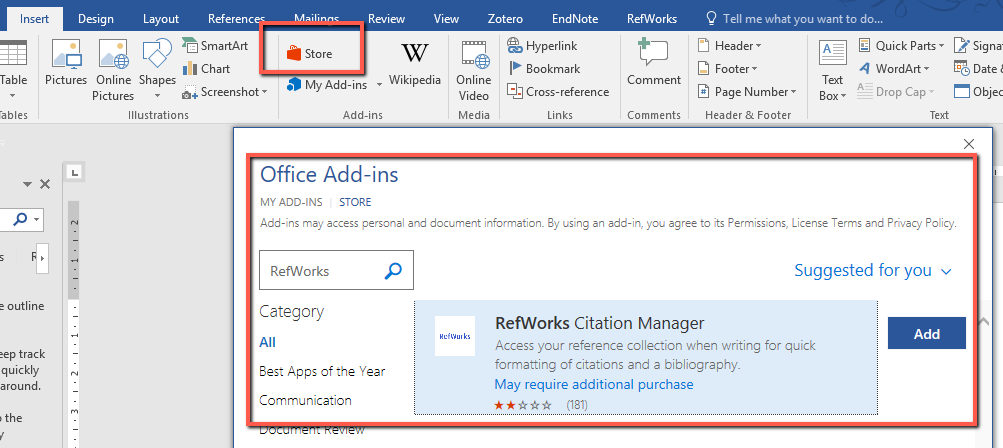 Word document with Store for Add-ins including RefWorks Citation Manager