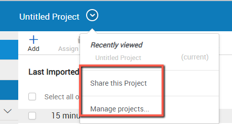 RefWorks Projects with Share or Manage options
