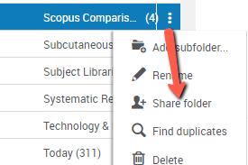 Share Folder option against 3 dots by folder in RefWorks