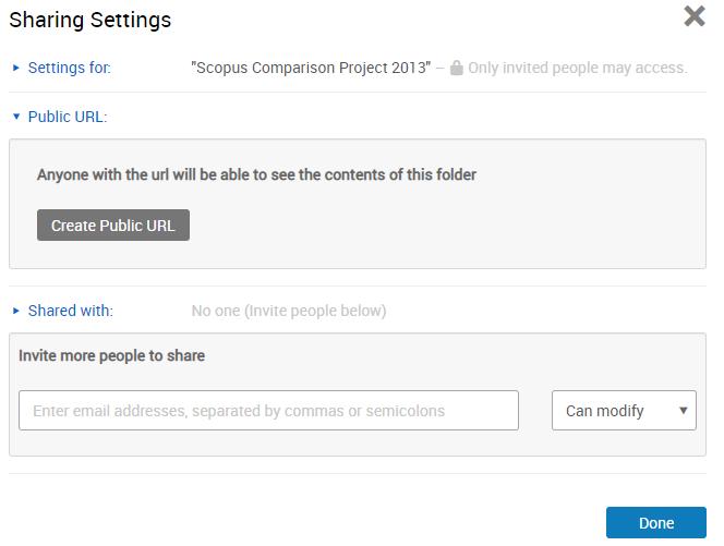 RefWorks folder sharing options