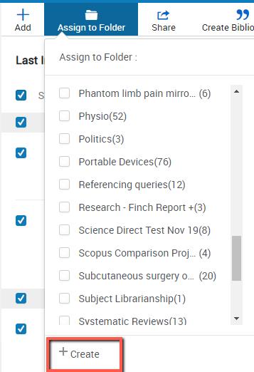 RefWorks assign results to folder screen (named folder or create folder)