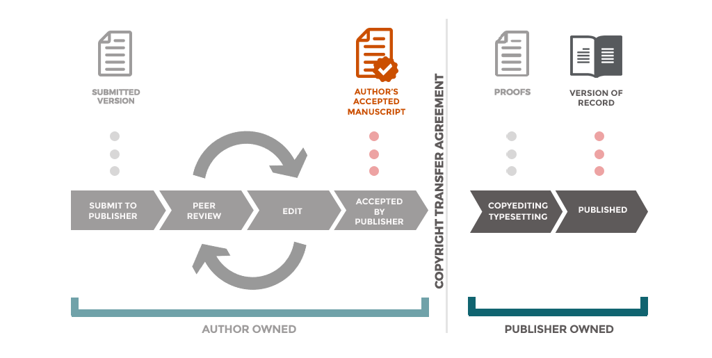Diagram showing that the submitted and accepted manuscript versions of an article are author owned, and the proof and final version of record are publisher owned