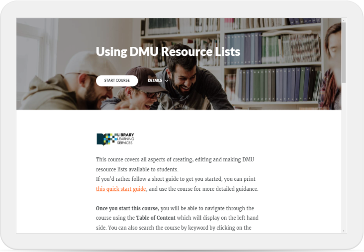 Link to guide to using DMU Resource Lists