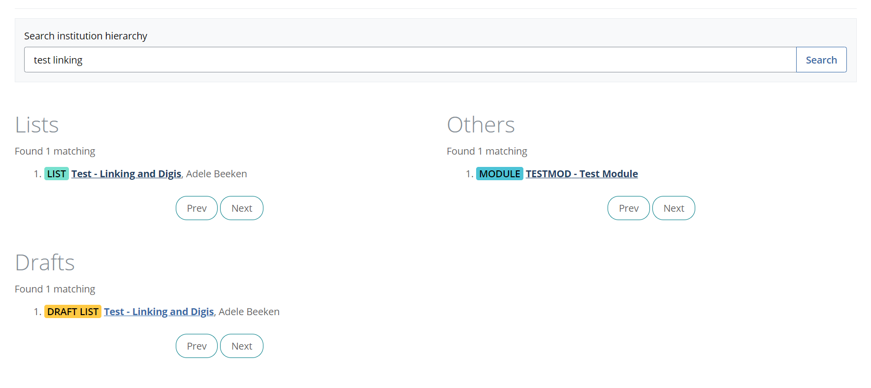Screenshot showing List, Draft List and Module results for the same search