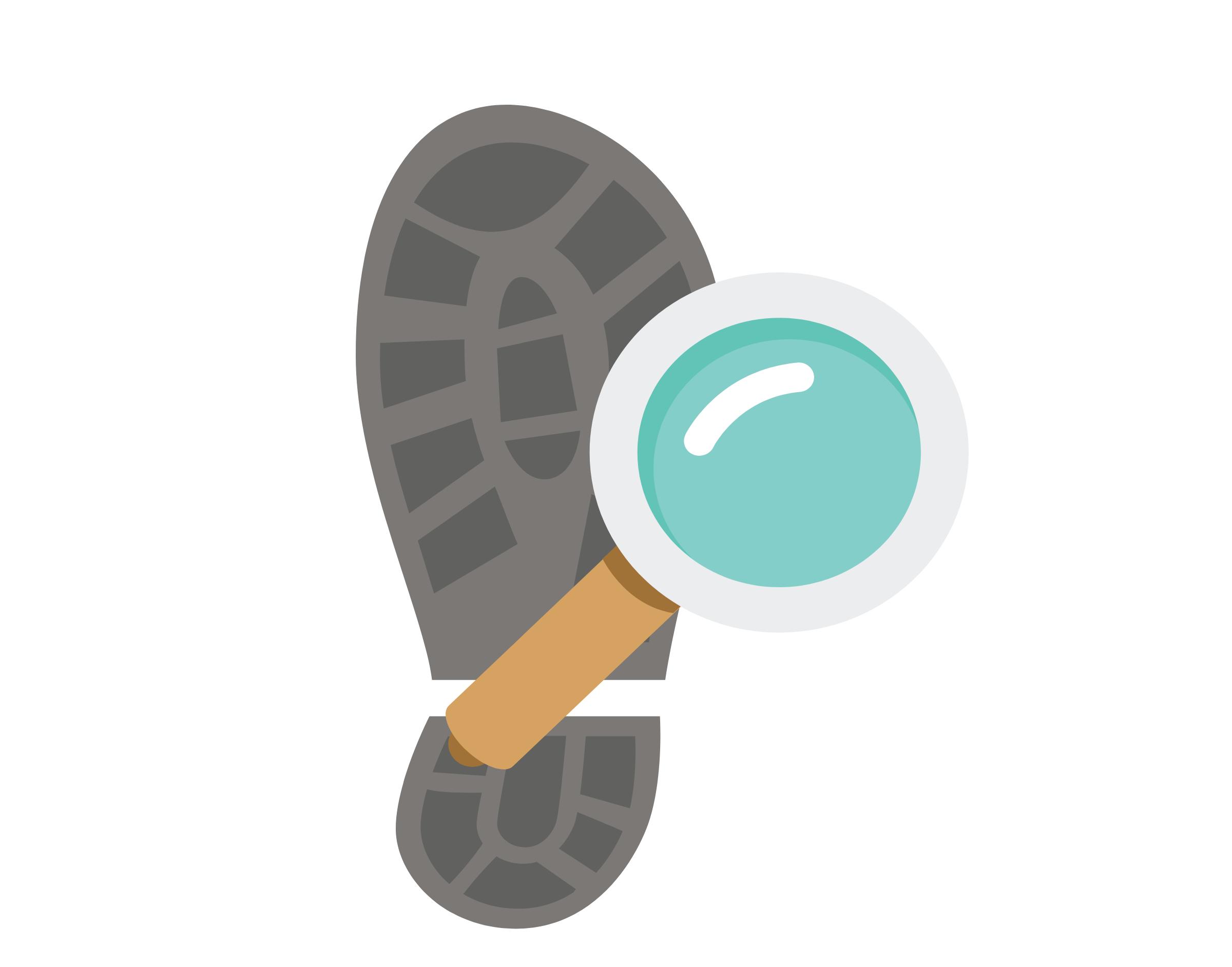 magnifying glass, footprint