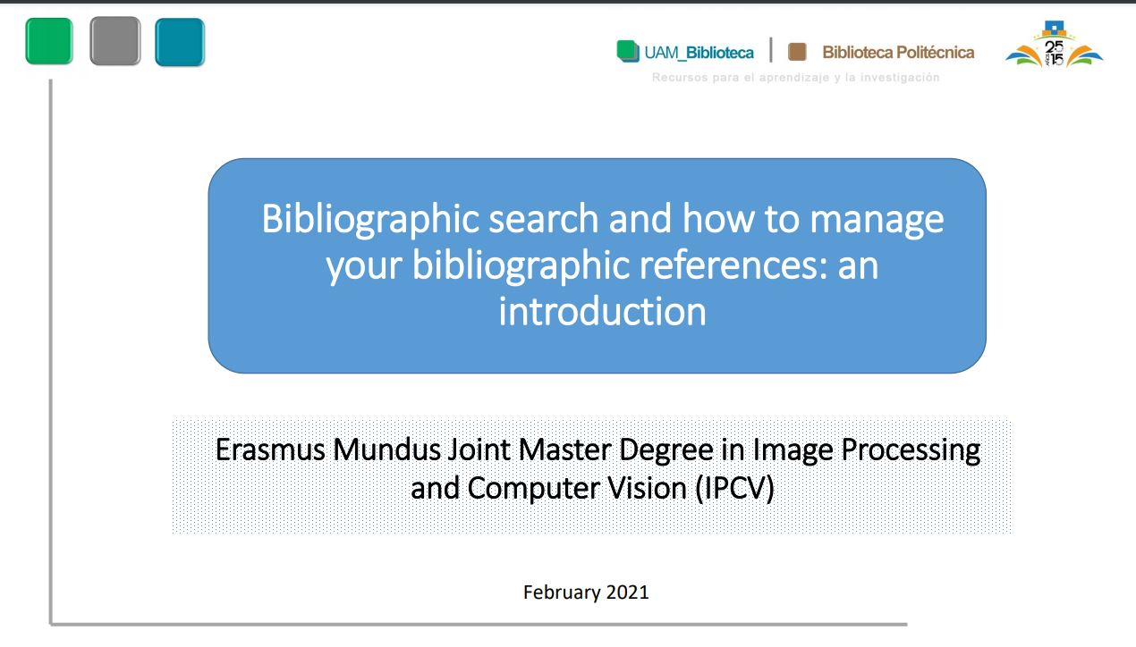 Bibliographic search and how to manage your bibliographic references