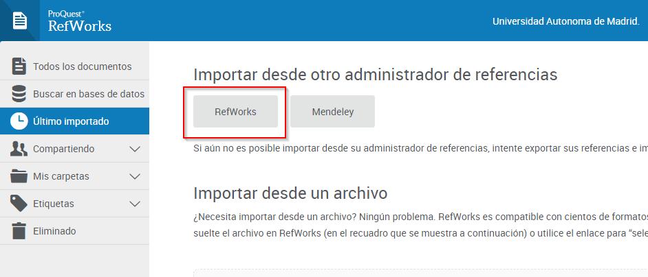 RefWorks: Importar desde otro administrador de referencias