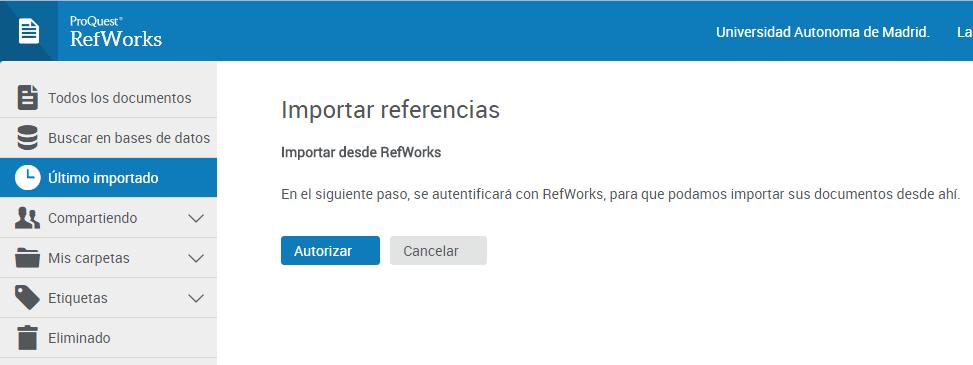 Autorizar autentificación con RefWorks