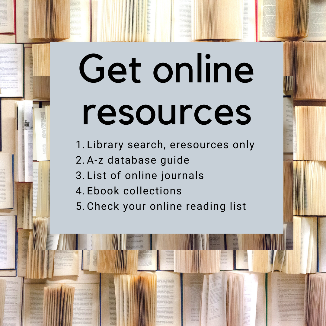 Images showing books with text listing the 5 key resources