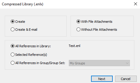 Screenshot of Compressed Library settings