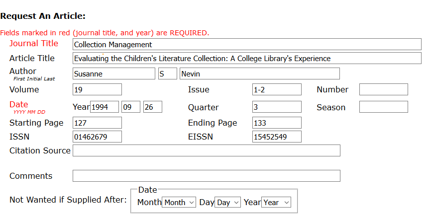 Image of a pre-filled request form