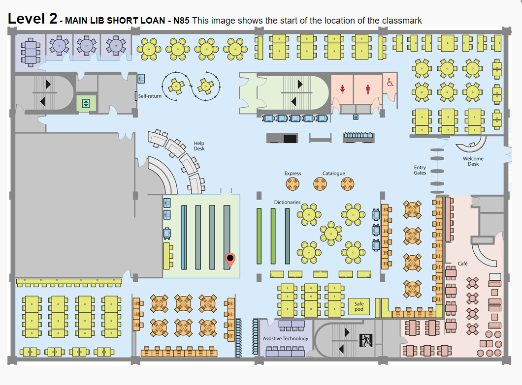 Image showing Main Library Level 2 floorplan with a red pin icon towards the shelves on the left at the back of the short loans area, located behind the Library Service Desk.