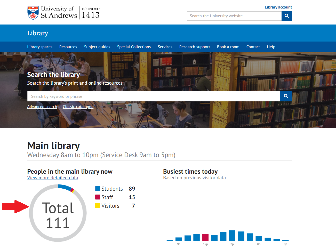 Image of the Library homepage with number of people in the main library now highlighted.