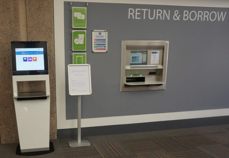 Image of the self service borrow and return machibes