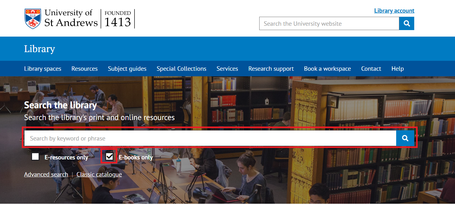 Picture of Library online search page