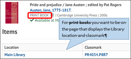 Image of library catalogue page for print book